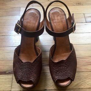 Chie Mihara dark brown leather sandals, boho heels